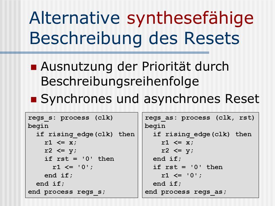 Alternative synthesefähige Beschreibung des Resets