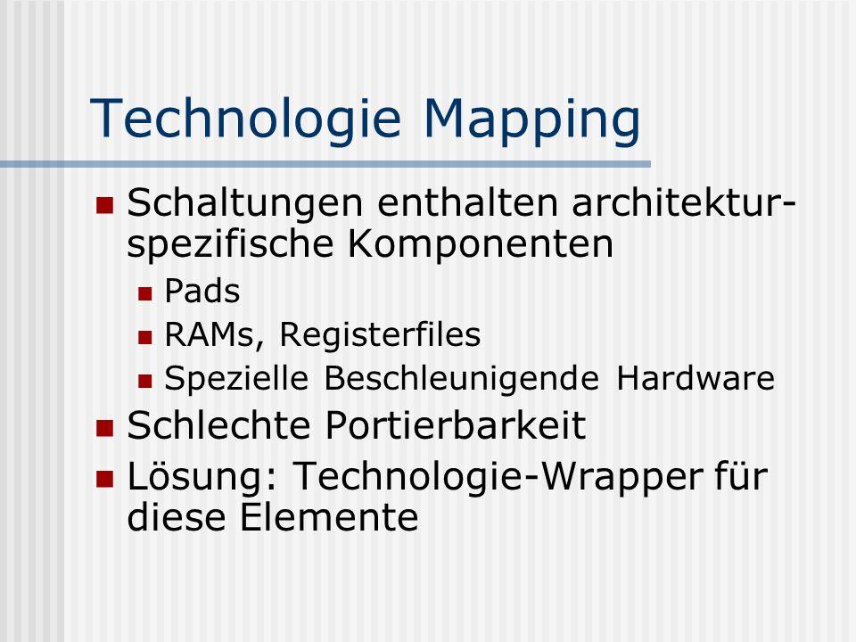 Technologie Mapping Schaltungen enthalten architektur-spezifische Komponenten. Pads. RAMs, Registerfiles.