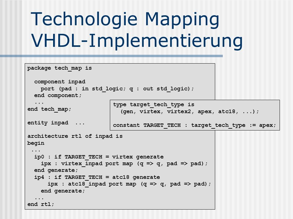 Technologie Mapping VHDL-Implementierung
