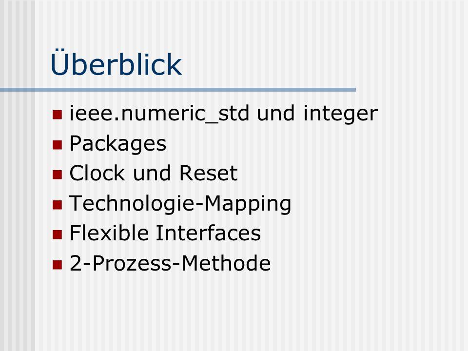 Überblick ieee.numeric_std und integer Packages Clock und Reset
