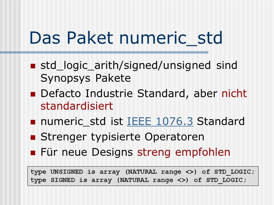 Das Paket numeric_std std_logic_arith/signed/unsigned sind Synopsys Pakete. Defacto Industrie Standard, aber nicht standardisiert.
