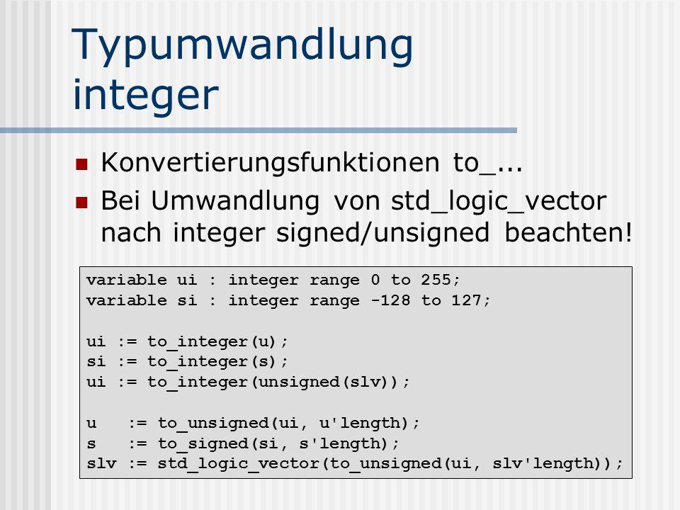 Typumwandlung integer
