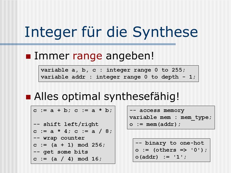 Integer für die Synthese