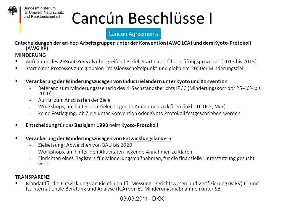 Cancún Beschlüsse IEntscheidungen der ad-hoc-Arbeitsgruppen unter der Konvention (AWG LCA) und dem Kyoto-Protokoll (AWG KP)