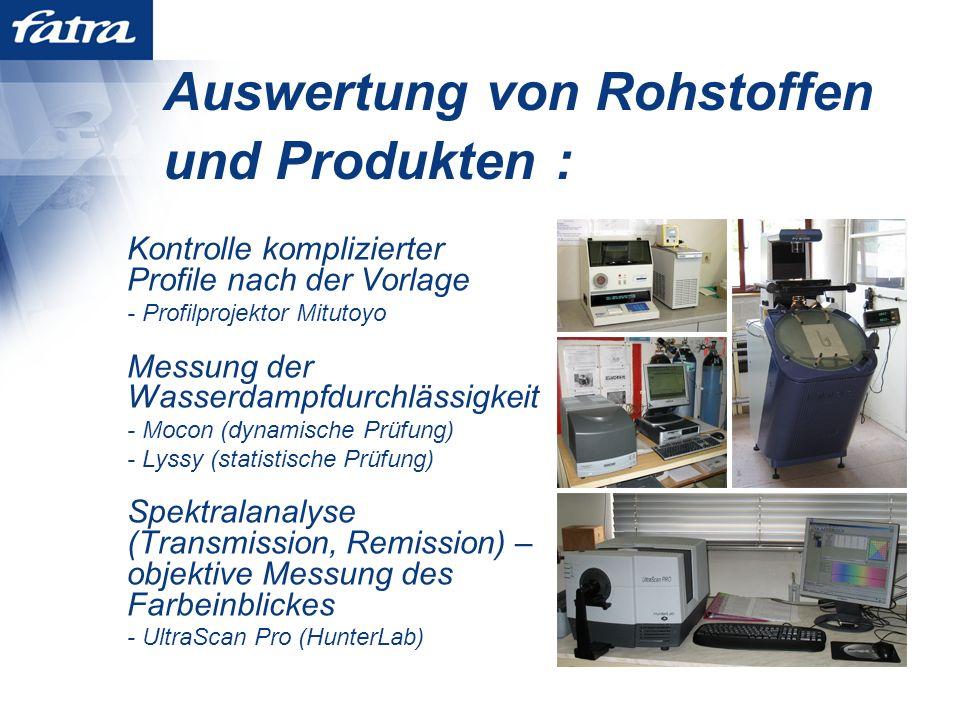 Auswertung von Rohstoffen und Produkten :