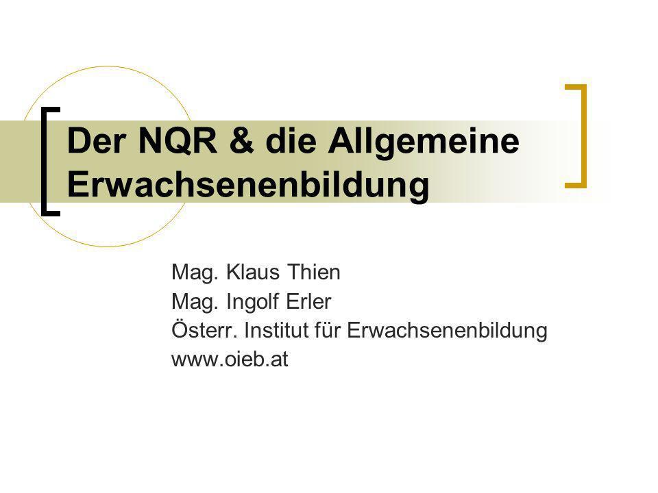 Der NQR & die Allgemeine Erwachsenenbildung