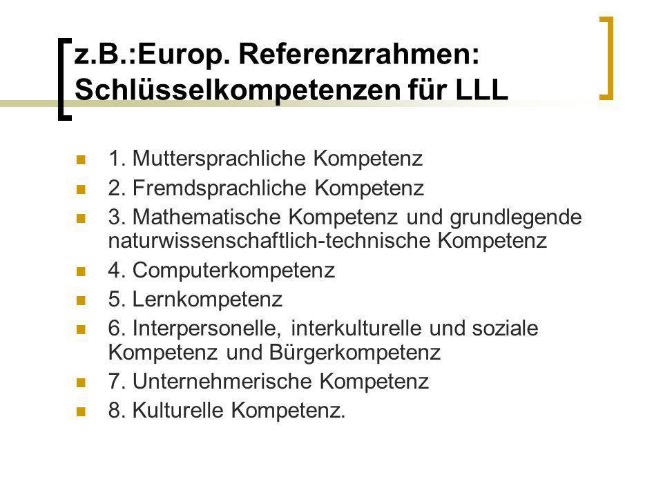 z.B.:Europ. Referenzrahmen: Schlüsselkompetenzen für LLL