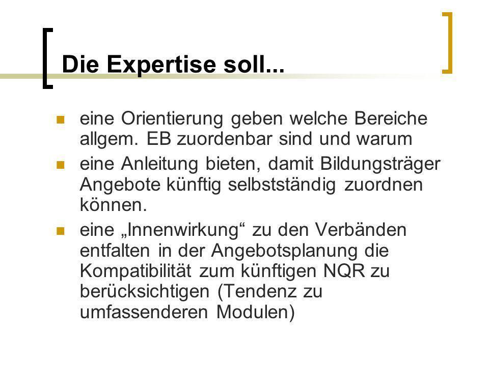 Die Expertise soll... eine Orientierung geben welche Bereiche allgem. EB zuordenbar sind und warum.
