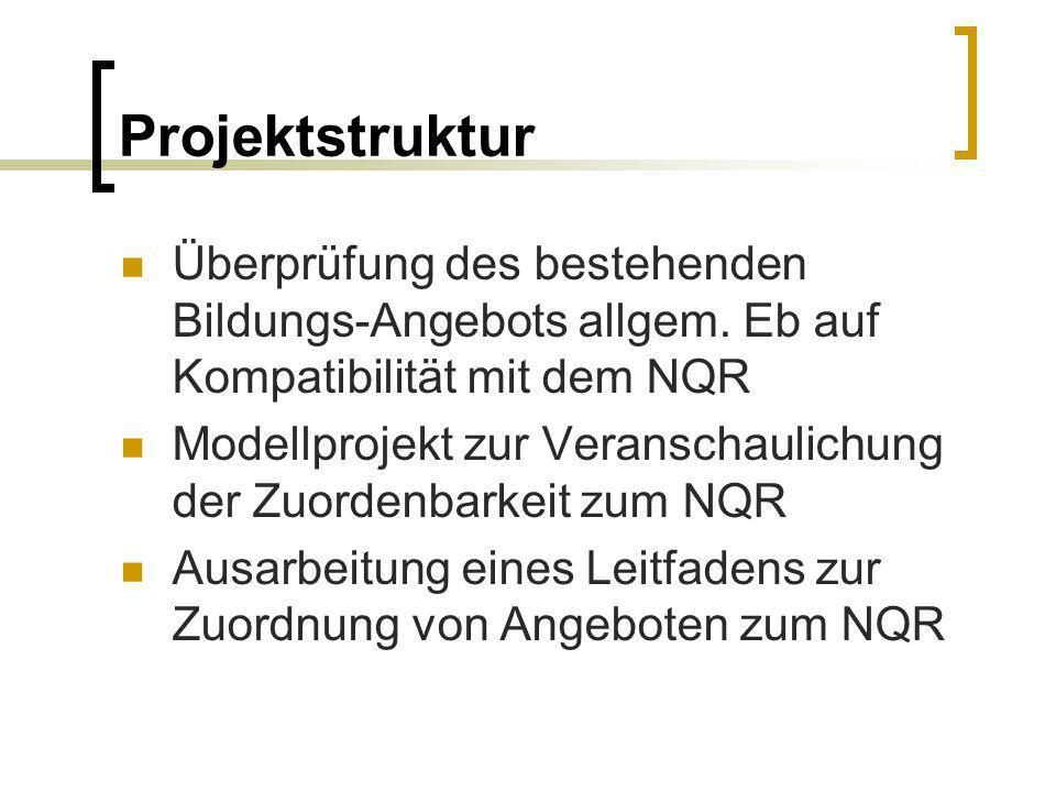 Projektstruktur Überprüfung des bestehenden Bildungs-Angebots allgem. Eb auf Kompatibilität mit dem NQR.