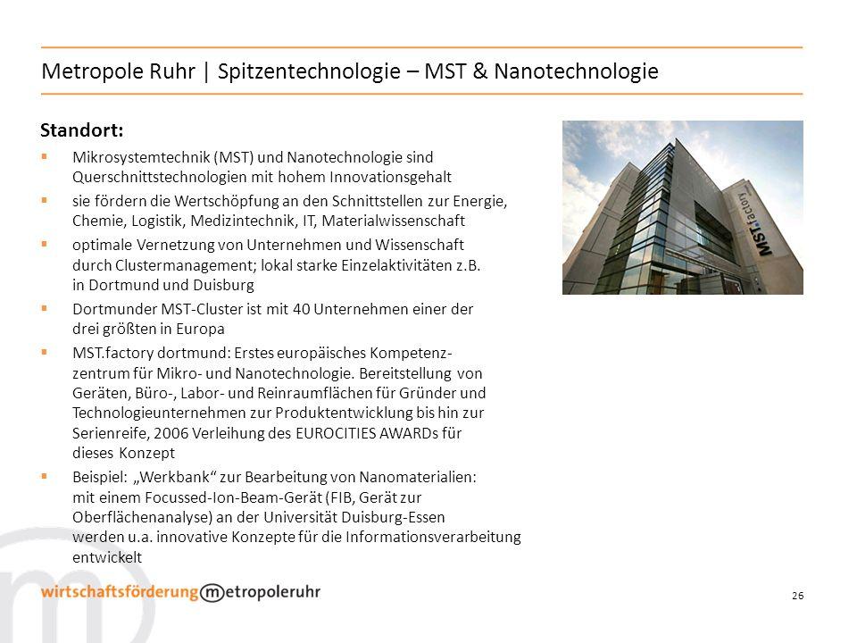 Metropole Ruhr | Spitzentechnologie – MST & Nanotechnologie
