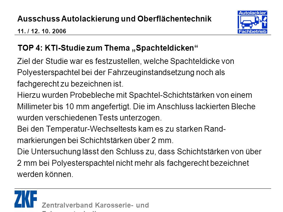 "TOP 4: KTI-Studie zum Thema ""Spachteldicken"