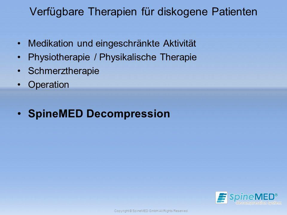 Verfügbare Therapien für diskogene Patienten