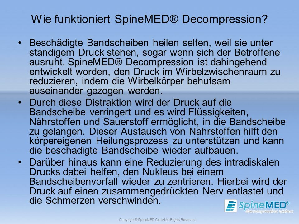 Wie funktioniert SpineMED® Decompression