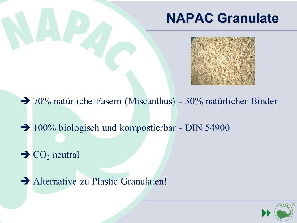 NAPAC Granulate 70% natürliche Fasern (Miscanthus) - 30% natürlicher Binder. 100% biologisch und kompostierbar - DIN 54900.