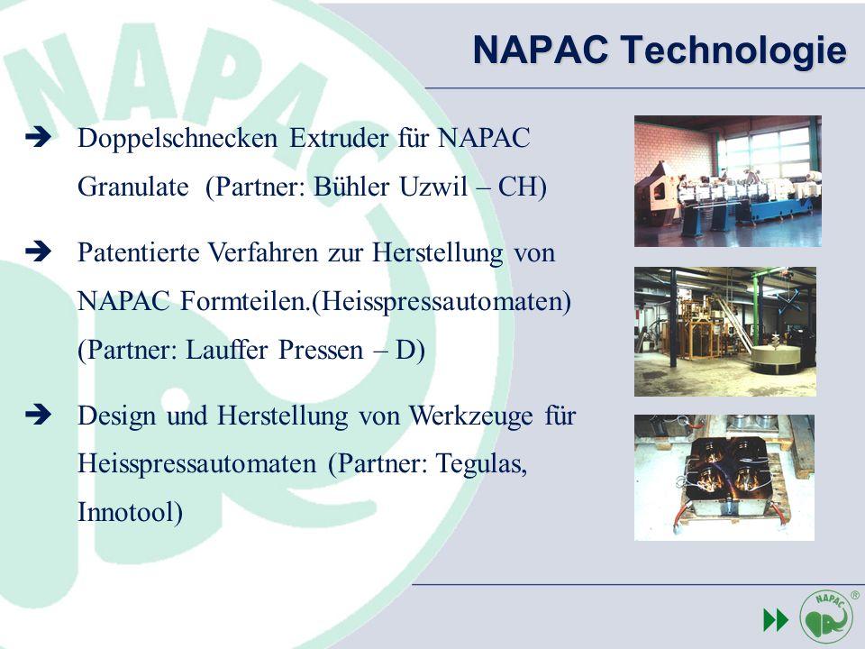 NAPAC Technologie Doppelschnecken Extruder für NAPAC Granulate (Partner: Bühler Uzwil – CH)