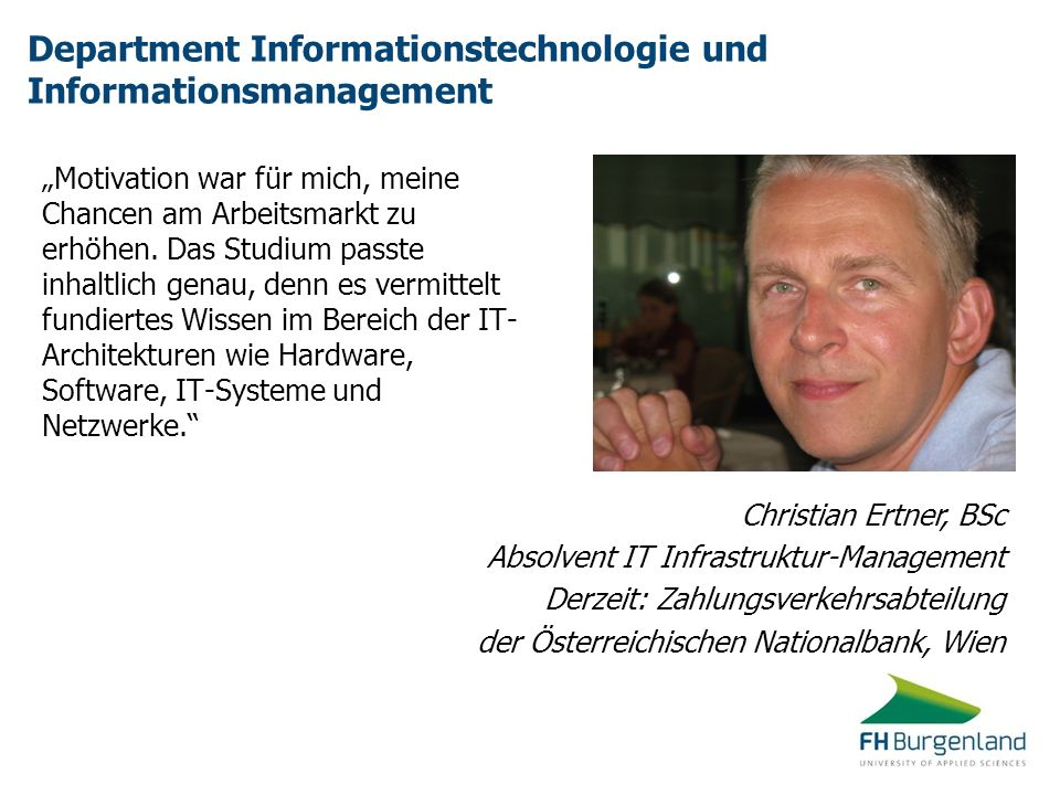 Department Informationstechnologie und Informationsmanagement