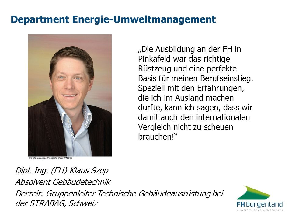 Department Energie-Umweltmanagement