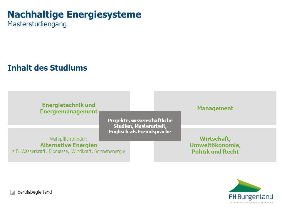 Nachhaltige Energiesysteme Masterstudiengang