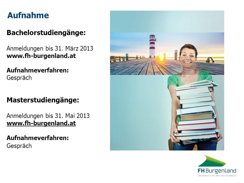 Aufnahme Bachelorstudiengänge: Masterstudiengänge: