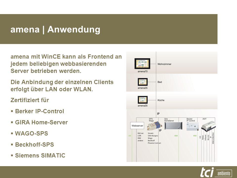 amena | Anwendung amena mit WinCE kann als Frontend an jedem beliebigen webbasierenden Server betrieben werden.