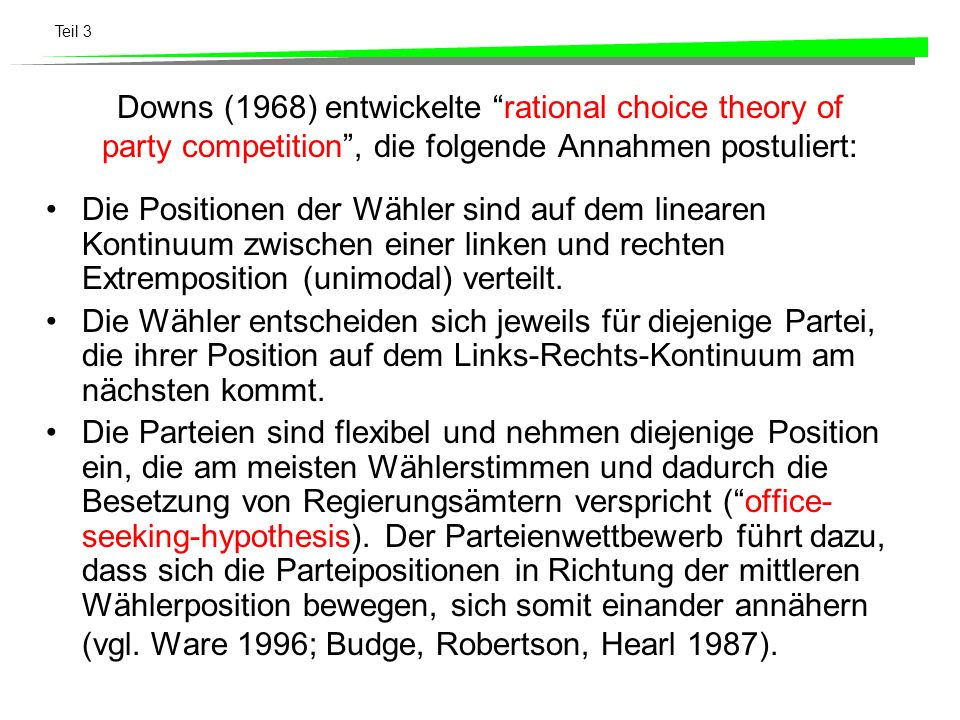 Downs (1968) entwickelte rational choice theory of party competition , die folgende Annahmen postuliert: