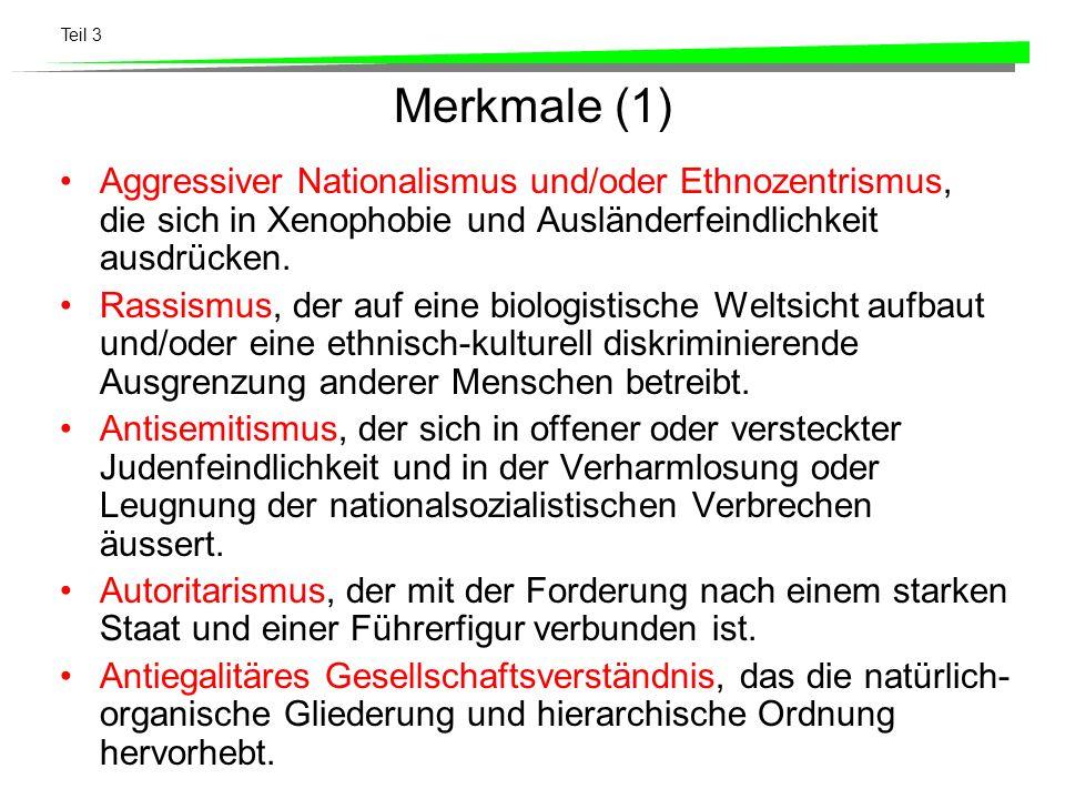 Merkmale (1) Aggressiver Nationalismus und/oder Ethnozentrismus, die sich in Xenophobie und Ausländerfeindlichkeit ausdrücken.