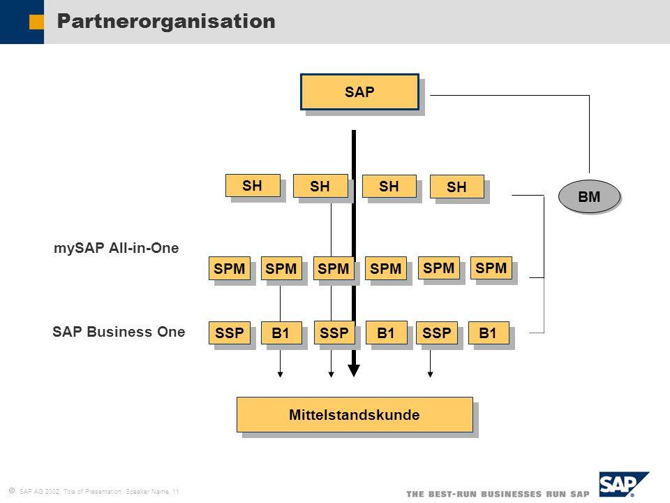 Partnerorganisation SAP BM SPM SH mySAP All-in-One SAP Business One