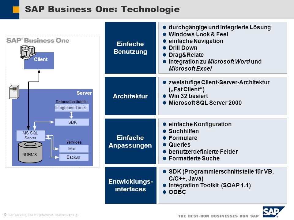 SAP Business One: Technologie