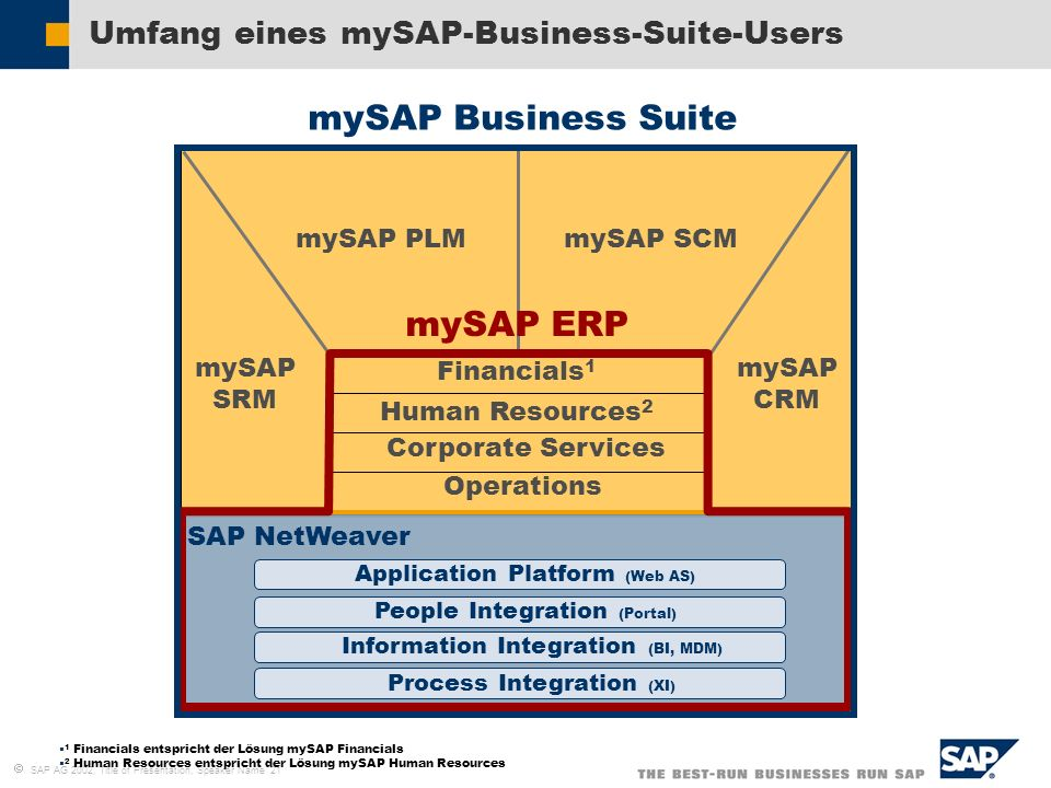 Umfang eines mySAP-Business-Suite-Users