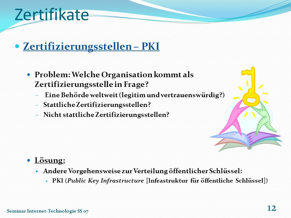 Zertifikate Zertifizierungsstellen – PKI
