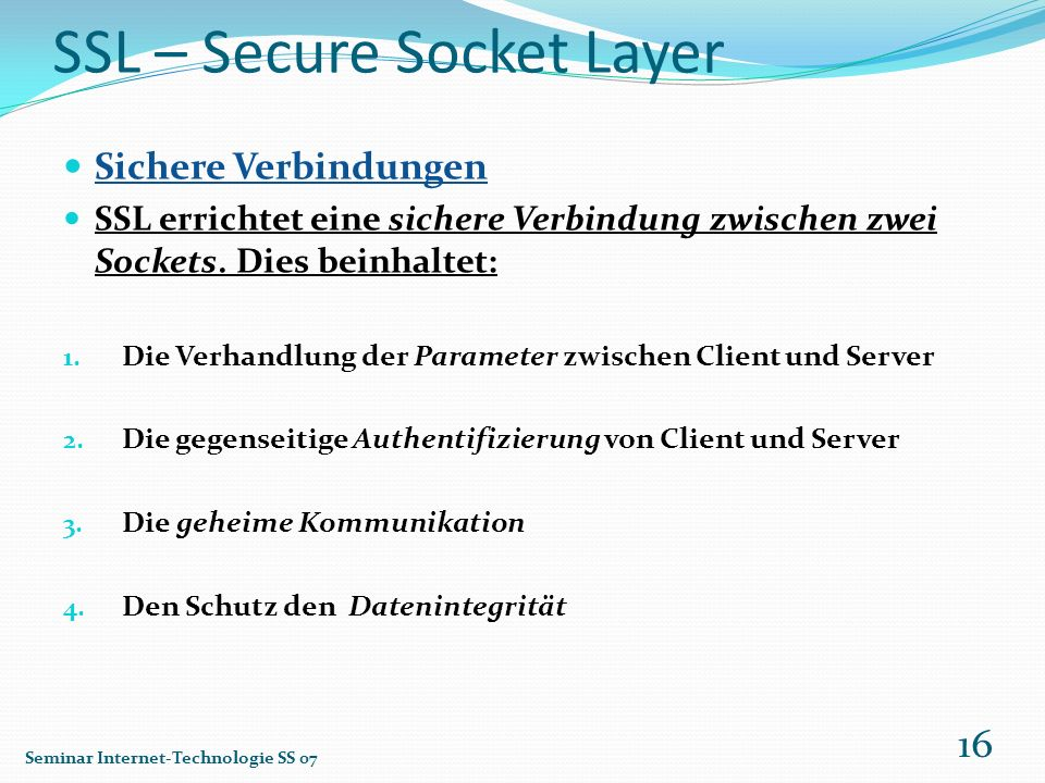 SSL – Secure Socket Layer