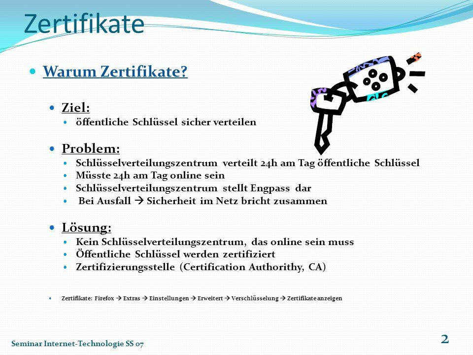 Zertifikate Warum Zertifikate Ziel: Problem: Lösung: