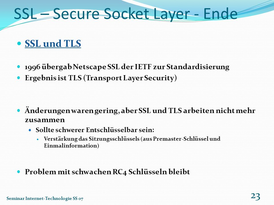 SSL – Secure Socket Layer - Ende