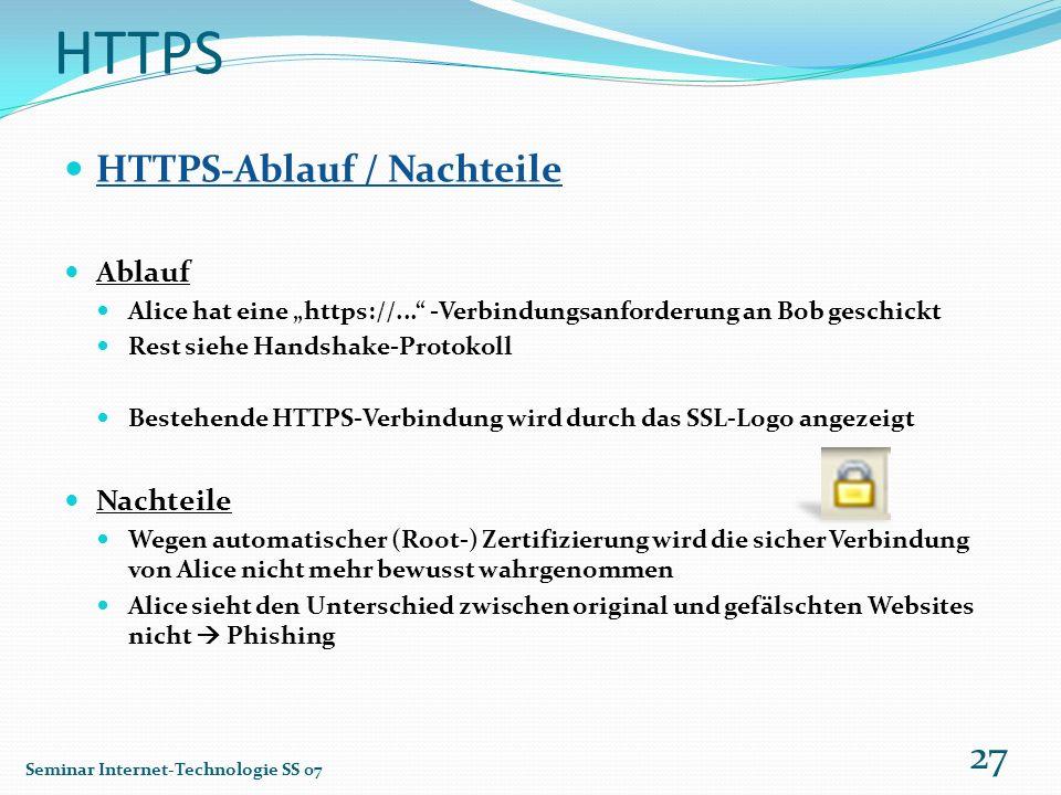HTTPS HTTPS-Ablauf / Nachteile Ablauf Nachteile