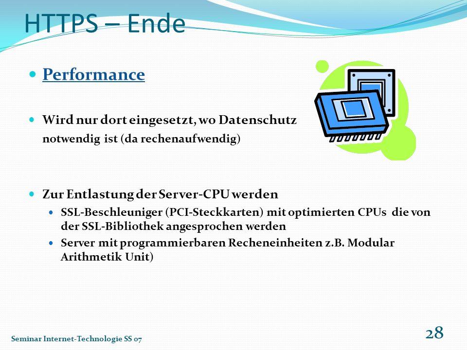 HTTPS – Ende Performance Wird nur dort eingesetzt, wo Datenschutz