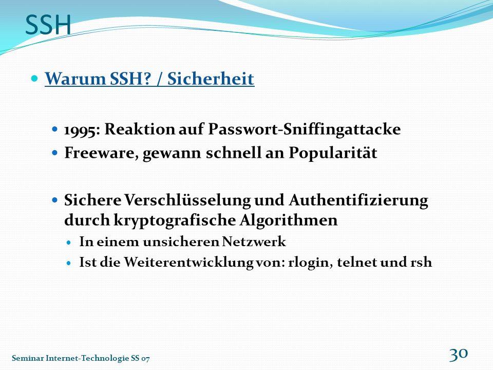 SSH Warum SSH / Sicherheit