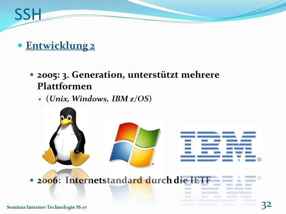 SSH Entwicklung 2 2005: 3. Generation, unterstützt mehrere Plattformen