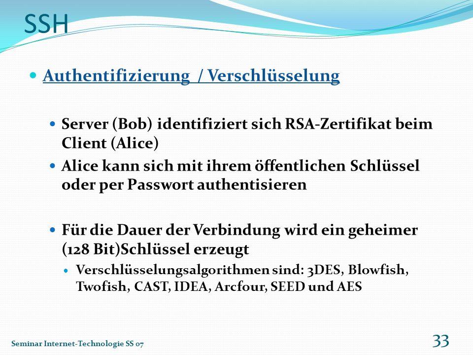SSH Authentifizierung / Verschlüsselung