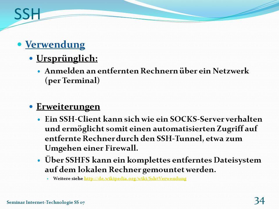 SSH Verwendung Ursprünglich: Erweiterungen