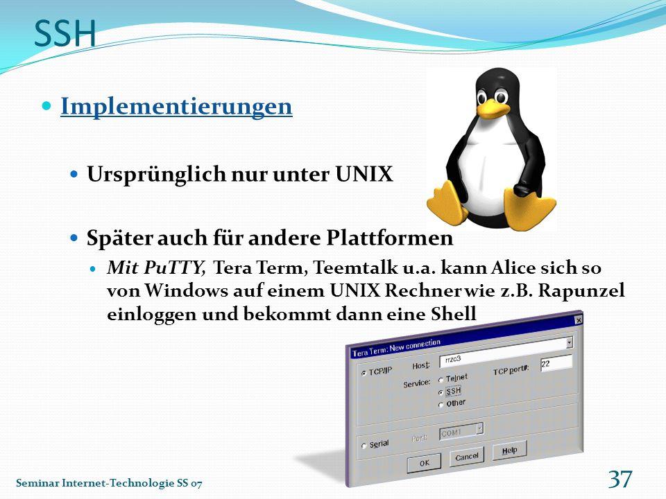 SSH Implementierungen Ursprünglich nur unter UNIX