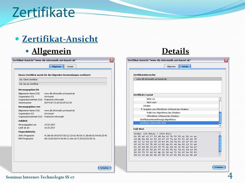 Zertifikate Zertifikat-Ansicht Allgemein Details
