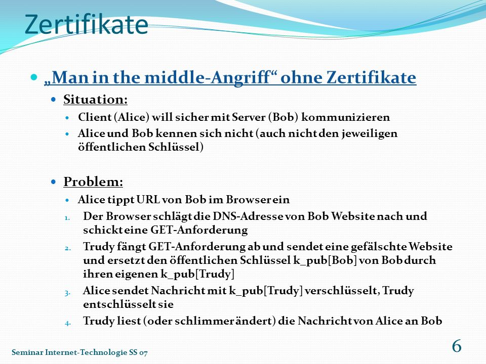"Zertifikate ""Man in the middle-Angriff ohne Zertifikate Situation:"
