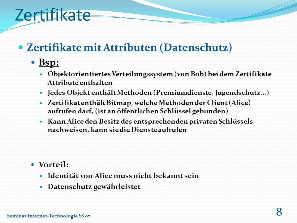 Zertifikate Zertifikate mit Attributen (Datenschutz) Bsp: Vorteil: