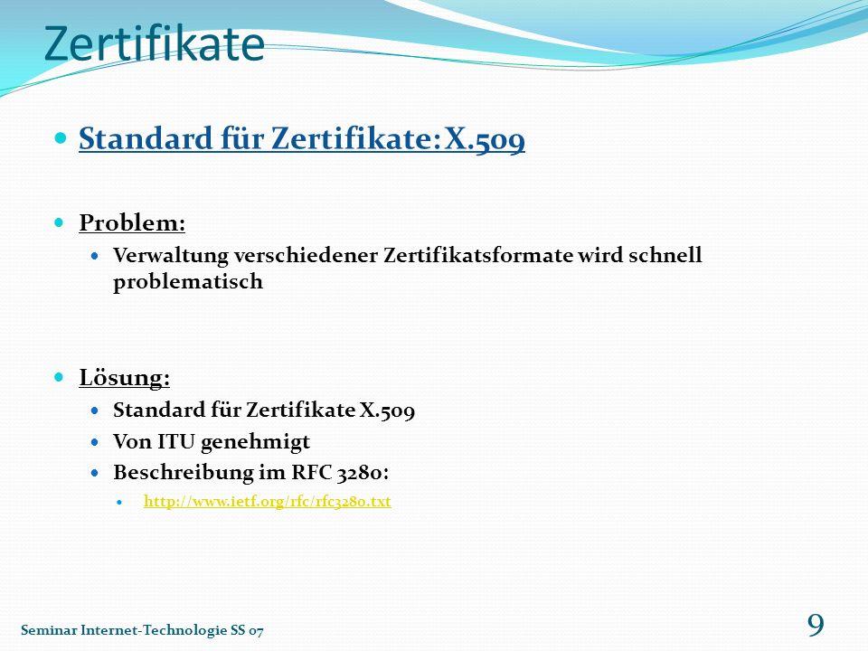 Zertifikate Standard für Zertifikate: X.509 Problem: Lösung: