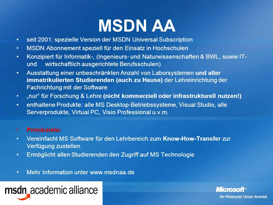 MSDN AA seit 2001: spezielle Version der MSDN Universal Subscription