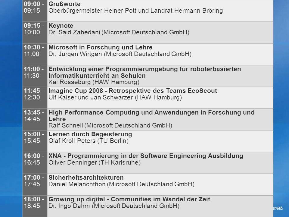 09:00 - 09:15 Grußworte. Oberbürgermeister Heiner Pott und Landrat Hermann Bröring. 09:15 - 10:00.