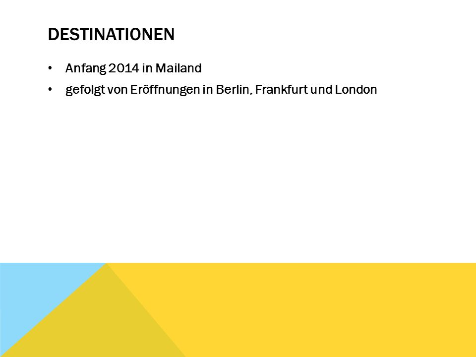 Destinationen Anfang 2014 in Mailand