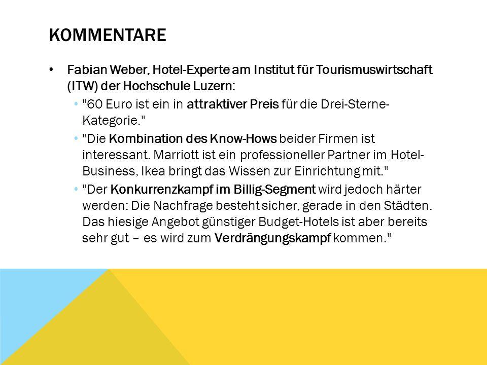 Kommentare Fabian Weber, Hotel-Experte am Institut für Tourismuswirtschaft (ITW) der Hochschule Luzern: