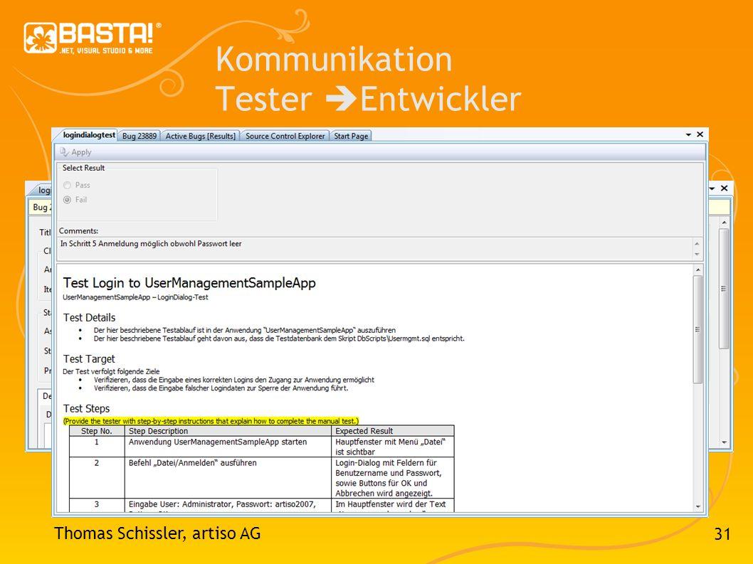Kommunikation Tester Entwickler