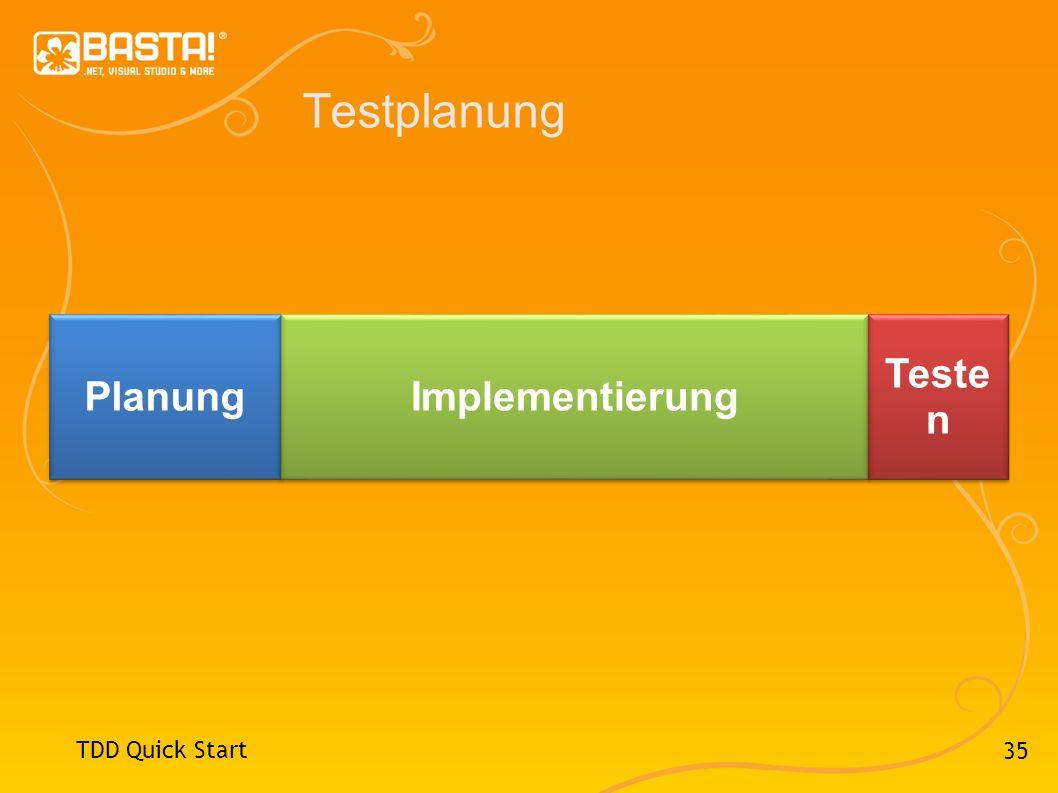 Testplanung Planung Implementierung Testen TDD Quick Start